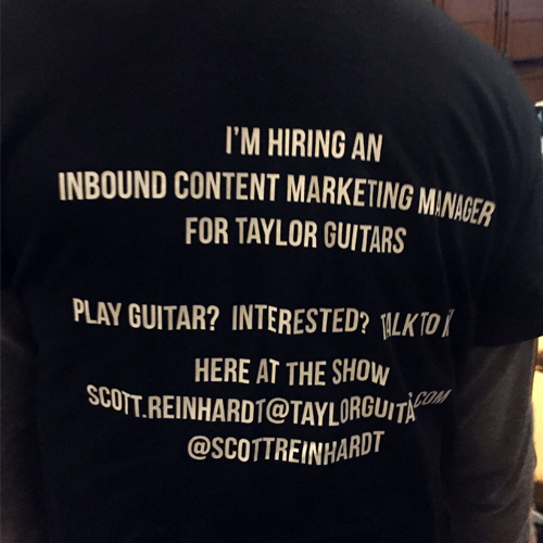 A job advert for an Inbound Content Marketing Manager print on a t-shirt and worn at 2016 B2B Content2Conversion Conference.