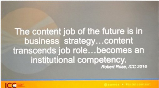 Robert Rose quote from Intelligent Content Conference 2016